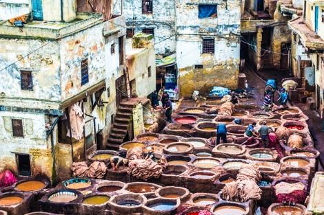 Barrio de los Curtidores en la Medina de Fez