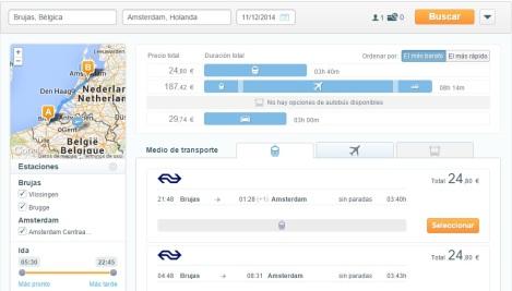 Go Euro: Tren Amsterdam-Brujas