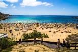 Playa de Golden Bay (de las pocas de arena y demasioado turística)